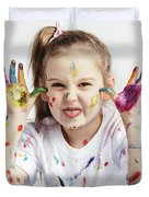 Little Girl Covered In Paint Making Funny Faces. Duvet Cover