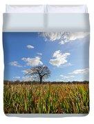 Lone Oak Tree In Wheat Field Duvet Cover