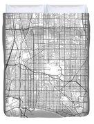 Long Beach California Usa Light Map Duvet Cover