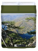 Look At The Pine Trees And The Lake Duvet Cover