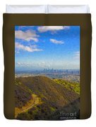 Los Angeles Ca Skyline Runyon Canyon Hiking Trail Duvet Cover