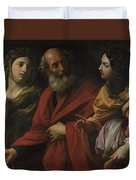 Lot And His Daughters Leaving Sodom Duvet Cover