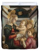 Madonna And Child With Angels Duvet Cover