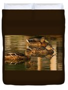 Mallards Swimming In The Water At Magic Hour Duvet Cover
