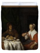 Man And Woman At A Meal Duvet Cover