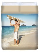 Man At The Beach With Surfboard Duvet Cover