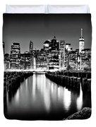 Manhattan Skyline At Night Duvet Cover