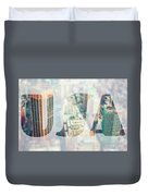 Manhattan Skyline At Sunset, New York City  Duvet Cover