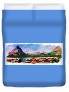Many Glacier Hotel Panorama Duvet Cover