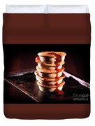 Meat Pies With Sauce And High Contrast Lighting. Duvet Cover