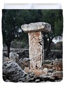 Megalithic Taula In Binisafua Menorca Bronze Age Duvet Cover