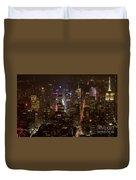 Midtown Manhattan Skyline Aerial At Night Duvet Cover