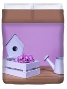 Miniature Gardening Kit With Pink Background Duvet Cover