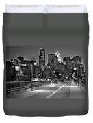 Minneapolis Skyline From Stone Arch Bridge Duvet Cover by Jon Holiday