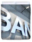 Modern Bank Building Signage Duvet Cover