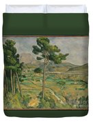 Mont Sainte-victoire And The Viaduct Of The Arc River Valley Duvet Cover
