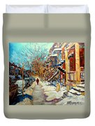 Montreal Street In Winter Duvet Cover by Carole Spandau