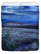 Moonlight On Stone Mountain Slope With Forest Duvet Cover