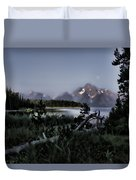 Moonset On Jackson Lake Duvet Cover