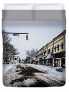 Moresville North Carolina Streets Covered In Snow Duvet Cover