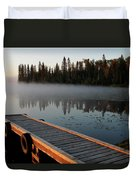 Morning Mist Over Lynx Lake In Northern Saskatchewan Duvet Cover