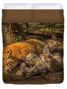 Mother Fox And Her Kits Duvet Cover
