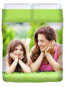 Mother With Daughter Outdoors Duvet Cover