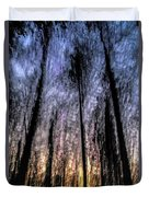Motion Blurred Trees In A Forest Duvet Cover