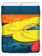 Multicolored Flip Flops Floating In Pool Duvet Cover