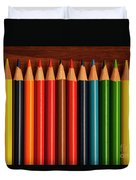 Multicolored Pencils In Rows Duvet Cover