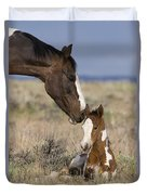 Mustang Mare And Foal Duvet Cover
