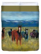 Mustangs In Southern Colorado Duvet Cover