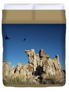 Natural Rock Formation And Wild Birds At Mono Lake, Eastern Sier Duvet Cover