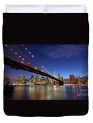New York City Skyline By Night Duvet Cover