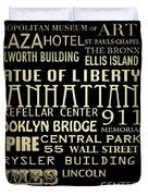 New York Famous Landmarks Silver Duvet Cover