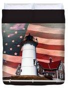 Nobska Lighthouse On American Flag Duvet Cover