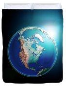 North America 3d Render Planet Earth Dark Space Duvet Cover