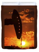Oil Rig Pump Jack Silhouetted By Setting Sun Duvet Cover