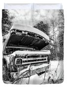 Old Abandoned Pickup Truck In The Snow Duvet Cover