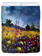 Old Chapel And Flowers Duvet Cover
