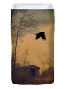 Lone Crow Flies Over The Old Country Road  Duvet Cover