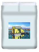 Old Crab Yellow Shacks Of Tangier Island Duvet Cover