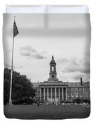 Old Main Penn State Black And White  Duvet Cover