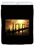 Old Pier At Sunset Duvet Cover