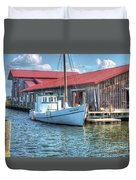Old Point Crabbing Boat Duvet Cover