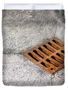 Old Rusty Street Grate Near The Sea In Cres Duvet Cover