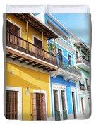 Old San Juan Houses In Historic Street In Puerto Rico Duvet Cover