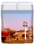 Old Signs At The Mother Road - Standard Oil And Motel - Route 66 Duvet Cover
