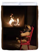 Old Teddy Bear Sitting Front Of The Fireplace In A Cold Night Duvet Cover