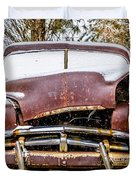 Old Vintage Plymouth Automobile In The Woods Covered In Snow Duvet Cover
